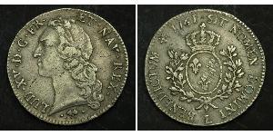 1 Ecu Reino de Francia (843-1791) Plata Luis XV de Francia (1710-1774)