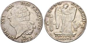 1 Ecu Reino de Francia (843-1791) Plata Luis XVI de Francia (1754 - 1793)