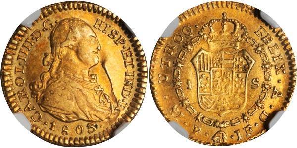 1 Escudo 新格拉納達總督轄區 (1717 - 1819) 金 卡洛斯四世 (1748-1819)