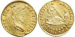 1 Escudo Plurinational State of Bolivia (1825 - ) Gold Simon Bolivar (1783 - 1830)