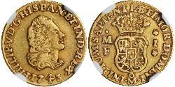 1 Escudo Spanish Mexico  / Kingdom of New Spain (1519 - 1821) Gold Philip V of Spain(1683-1746)