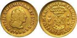 1 Escudo Spanish Mexico  / Kingdom of New Spain (1519 - 1821) Gold Philip V of Spain(1683-1746)