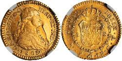 1 Escudo Viceroyalty of New Granada (1717 - 1819) Gold Charles IV of Spain (1748-1819)