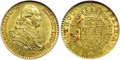 1 Escudo Empire espagnol (1700 - 1808) Or Charles IV d