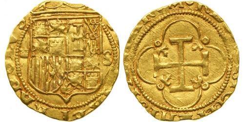 1 Escudo Spagna degli Asburgo (1506 - 1700) Oro Carlo V del Sacro Romano Impero (1500-1558)