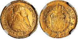 1 Escudo Vicereame della Nuova Granada (1717 - 1819) Oro Carlo IV di Spagna (1748-1819)