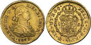 1 Escudo Virreinato de Nueva España (1519 - 1821) Oro Carlos IV de España (1748-1819)