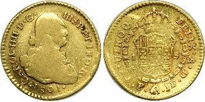 1 Escudo Virreinato de Nueva Granada (1717 - 1819) Oro Carlos IV de España (1748-1819)