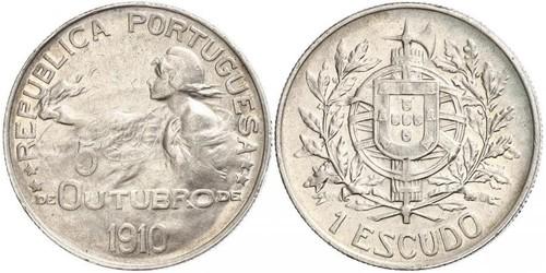 1 Escudo Primera República Portuguesa (1910 - 1926) Plata