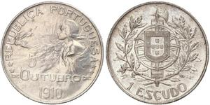 1 Escudo First Portuguese Republic (1910 - 1926) Silver