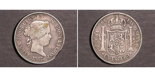 1 Escudo Spain Silver Isabella II of Spain (1830- 1904)