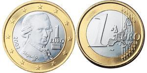 1 Euro Republic of Austria (1955 - ) Copper/Nickel Wolfgang Amadeus Mozart