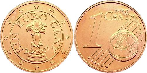 1 Eurocent Republic of Austria (1955 - ) Copper