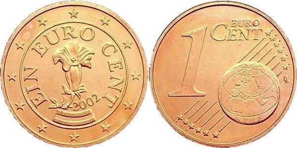 1 Eurocent Republic of Austria (1955 - ) Copper