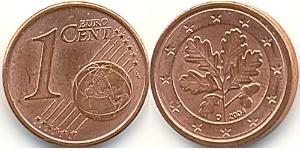1 Eurocent Federal Republic of Germany (1990 - ) Steel/Copper