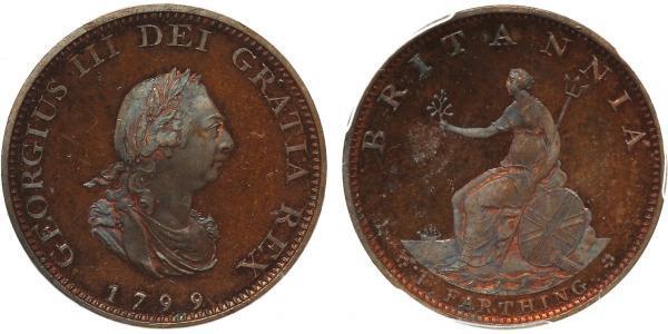 1 Farthing 大不列顛王國 (1707 - 1800) 銅 喬治三世 (1738-1820)
