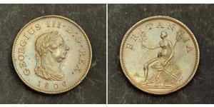 1 Farthing 大不列颠及爱尔兰联合王国 (1801 - 1922) 銅 喬治三世 (1738-1820)
