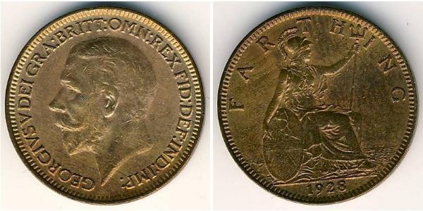 1 Farthing 大不列颠及爱尔兰联合王国 (1801 - 1922) 銅 乔治五世  (1865-1936)