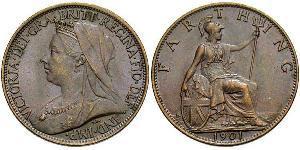 1 Farthing Regno Unito di Gran Bretagna e Irlanda (1801-1922) Bronzo Vittoria (1819 - 1901)