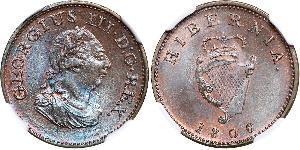 1 Farthing Irlanda (1922 - ) Cobre Jorge III (1738-1820)