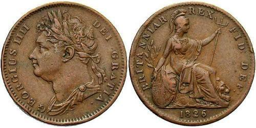 1 Farthing Reino Unido de Gran Bretaña e Irlanda (1801-1922) Cobre Jorge IV (1762-1830)