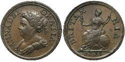 1 Farthing Kingdom of Great Britain (1707-1801) Copper Anne, Queen of Great Britain (1665-1714)