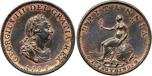 1 Farthing Königreich Großbritannien (1707-1801) Kupfer Georg III (1738-1820)