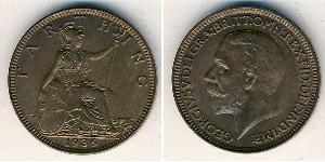 1 Farthing Vereinigtes Königreich von Großbritannien und Irland (1801-1922) Kupfer George V (1865-1936)