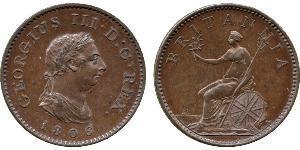 1 Farthing Vereinigtes Königreich von Großbritannien und Irland (1801-1922) Kupfer Georg III (1738-1820)