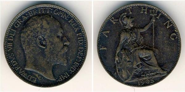 1 Farthing Regno Unito  Rame Edoardo VII (1841-1910)