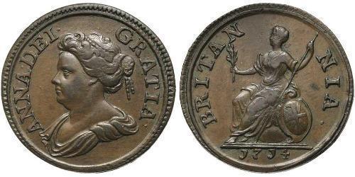 1 Farthing Regno Unito di Gran Bretagna (1707-1801) Rame Anna di Gran Bretagna(1665-1714)