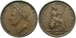 1 Farthing Regno Unito di Gran Bretagna e Irlanda (1801-1922) Rame Giorgio IV (1762-1830)