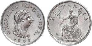 1 Farthing Regno Unito di Gran Bretagna e Irlanda (1801-1922) Rame Giorgio III (1738-1820)