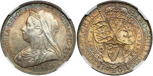1 Florin 大不列颠及爱尔兰联合王国 (1801 - 1922) 銀 维多利亚 (英国君主)