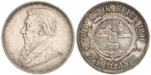 1 Florin South Africa 銀 保罗·克留格尔 (1825 - 1904)