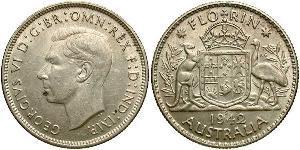 1 Florin Australie (1939 - ) Argent George VI (1895-1952)