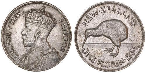 1 Florin Nouvelle-Zélande Argent George V (1865-1936)