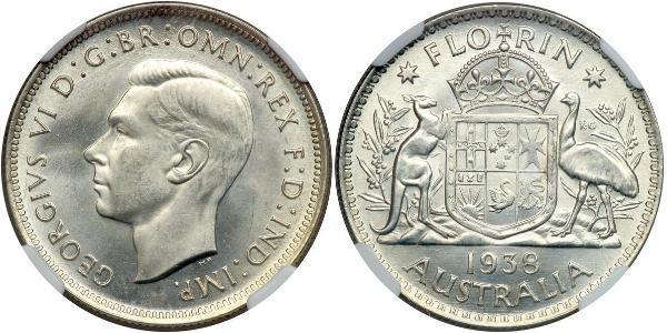 1 Florin Australia (1939 - ) Argento Giorgio VI (1895-1952)