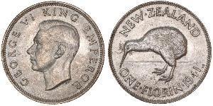 1 Florin Nuova Zelanda Argento Giorgio VI (1895-1952)