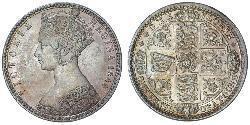1 Florin Regno Unito di Gran Bretagna e Irlanda (1801-1922) Argento Vittoria (1819 - 1901)