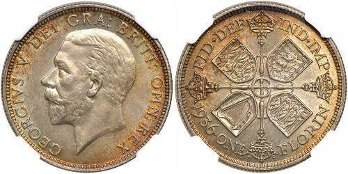 1 Florin Regno Unito di Gran Bretagna e Irlanda (1801-1922) Argento Giorgio V (1865-1936)