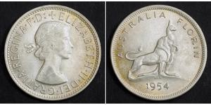1 Florin Australia (1939 - ) Plata Isabel II (1926-)