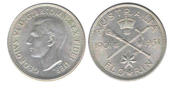 1 Florin Australia (1939 - ) Plata Jorge VI (1895-1952)