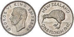 1 Florin Nueva Zelanda Plata Jorge VI (1895-1952)