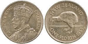 1 Florin Nueva Zelanda Plata Jorge V (1865-1936)