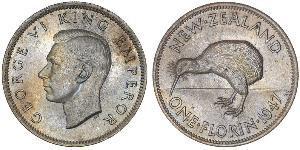 1 Florin Neuseeland Silber Georg VI (1895-1952)