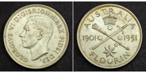 1 Florin Australia (1939 - ) Silver George VI (1895-1952)