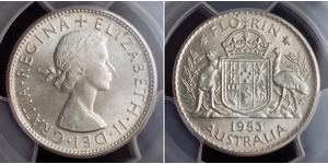 1 Florin Australia (1939 - ) Silver Elizabeth II (1926-)