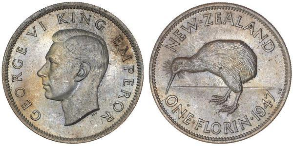 1 Florin New Zealand Silver George VI (1895-1952)