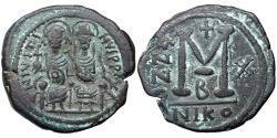 1 Follis 拜占庭帝国 青铜 查士丁二世